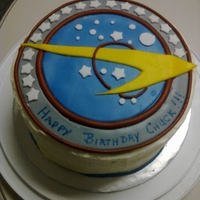 Star Trek Birthday Cake Three layer Chocolate cake with buttercream frosting. This was for a friend's birthday and he loves Star Trek. I found the logo and...