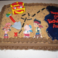 Jake And The Neverland Pirates   9x13 cake filled with chocolate chip buttercream.