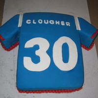 Giants Jersey First time adding fondant to a square cake but I think it turned out ok. The arms of the shirt was made out of a loaf pan cake cut on a...