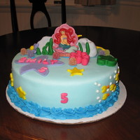 Little Mermaid Cake 10 inch cake covered in fondant with fondant accessories