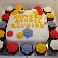 School Reunion Cake  This was a cake I made for our shool reunion 40 years after we first started! A chocolate mixture for the main cake and the cupcakes and...