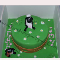 Shaun The Sheep Cake With Baby Timmy   all handmade by me and edible