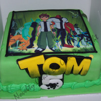 Ben 10 Birthday Cake my first go at a icing sheet cake but I handmade the name from the ben 10 logo