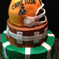 Football 3 D Cake Field is 14 inchFootball is 9 inch and Helmet is 8 inch Helmet is RKT Made this one for my grandsonThanks for lookingTeresa's Sweet...