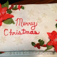 Christmas Poinsettia Cake I love this one poinsettis's are gum paste , cake is red velvet, snow flakes are just an added touch.Thanks for lookingTeresa's...