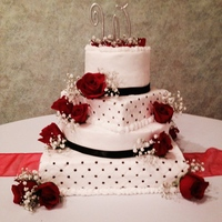 Black And Whtie / Square And Rounds Wedding Cakes Loved how this turned out. Very Pretty mixture of Black and White and Square and Rounds for wedding cake design. Thanks for looking Teresa...