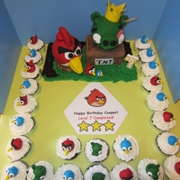 Angry Birds Birthday Fondant, Rice Crispy Treats, triple chocolate, vanilla buttercream