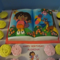 Dora The Explorer Birthday Triple chocolate cake, chocolate butter-cream. Decorations made with tootsie roll and fondant.