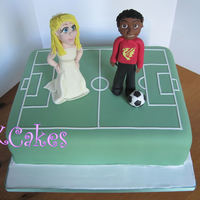 Grooms Cake Bride Having To Collect The Groom From The Football Pitch   Groom's cake. Bride having to collect the groom from the football pitch!