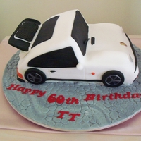 Porsche Cake Carved from fruitcake, and covered in Fondant.