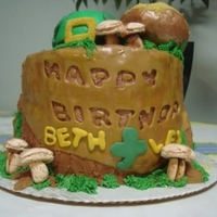 Luck Of The Irish Birthday Cake Stacked layers of chocolate cake with mint cream filling and covered with chocolate fudge icing. The Leprechaun is taking a nap in the...