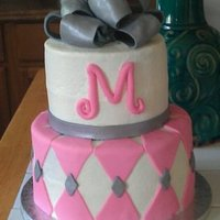 Pink And Silver Shower Cake pink and silver wedding shower cake with pink initial and silver bow