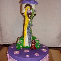 Rapunzel Cake Rice Krispy treat tower, mmf decorations, buttercream icing.