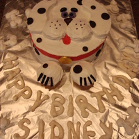 Simple Dalmation Dog dalmation dog made for my daughters first birthday. Also made some meringue bones and letters for fun. Kids loved the bones!!