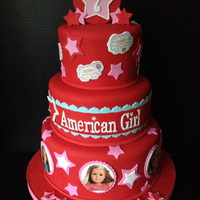 American Girl Doll Cake All Fondant With Edible Images American Girl doll cake. All fondant with edible images.