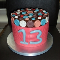 Button Cake Double high cake with pink icing and chocolate buttons.