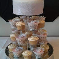 Rose Wedding Cake With Embossed Fondant And Buttercream Rose Cupcakes