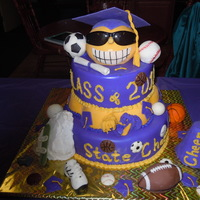 Happy Graduation Cake Smiley face is cake covered in fondant with sunglasses. Cap is gumpaste with fondant tassel. Mountain is rice krispy covered in buttercream...