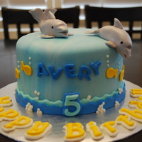 "Dolphins Birthday Cake 6"" Strawberry with Buttercream."