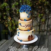 Wedding Cake With Blue Hydrangea Wedding couple wanted a wedding cake with blue hydrangeas. The cake was inspired by their wedding card.And their silhouette on the cake...