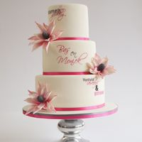Wedding Cake With Painted Words And Fantasy Flowers