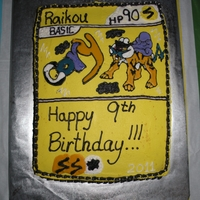 Pokemon Card - Raikou. Cory's 9th Bday Cake - Still iinto Pokemon. Made it look like a Pokemon Card - Raikou.