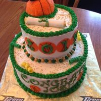 "Graduation Cake Basketball themed graduation cake. Yellow cake with buttercream and fondant accents - 10"" and 6"". Thanks for looking!"