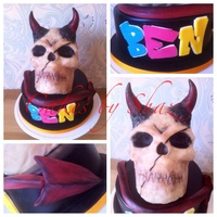 Devil Skull Cake A devil skull and graffiti writing