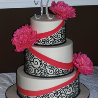 3 Tier Round Cake Covered With Fondant Hot Pink Fondant Ribbon Detail Black Piped Swirls Decorated With Sugar Peonies That I Learned To M  3-tier round cake covered with fondant, hot pink fondant ribbon detail, black piped swirls, decorated with sugar peonies that I learned to...