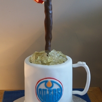 My Hubby's Favorite Mug   neapolitan cake with ganache filling, fondant covered, gumpaste handle, fondant logo, sugar ice.