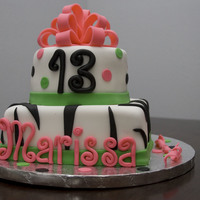 13Th Birthday Cake I received an email of a very similar cake and was asked to duplicate it using defferent colors. Swiss Chocolate cake with vanilla bean...