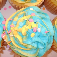 Tie Dye Fun Tie Dyed Aqua and Yellow Cupcakes
