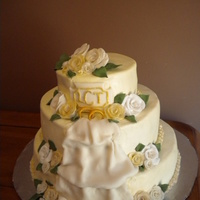 Whit And Gold Ring Cake This cake is just 3 tiers with buttercream and home made roses