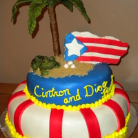 Puerto Rico Cake I sculpted everything out of fondant and everything is edible.