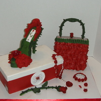 Rose Shoe& Purse Cake