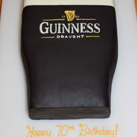 Guinness Cake This was two 9x13 layers of deep dark chocolate cake, covered with fondant and decorated with BC (lettering and foam on top).