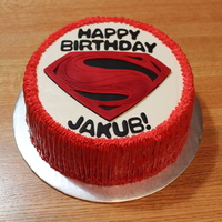 "Superman Birthday Cake A Superman cake for a 5-year-old's birthday party - BC with fondant lettering and logo on an 8"" vanilla cake with chocolate..."