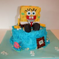Sponge Bob Cake Sponge Bob is a vanilla cake covered with fondant and water part is a chocolate cake with butter cream icing. Decorations are fondant