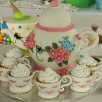 Birthday Teapot Wasc Cake Covered In Marshmallow Fondant Gumpaste Flowers And Teacup Birthday Teapot WASC Cake. Covered in Marshmallow fondant. Gumpaste flowers and teacup