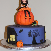 Halloween Cake  Witch cake topper inspired by Naomi Hubert of Tea Party Cakes. Pumpkin made of RKT. Vanilla and Chocolate cake with chocolate buttercream...