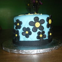 Quilted Flower Cake Chocolate Cake with Vanilla Wonder Cream. Covered in light blue fondant. Used veining fondant tool to make quilted pattern. Flowers are...