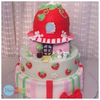 Strawberry Shortcake Fondant Cake For A Little Girl Birthday Strawberry shortcake fondant cake for a little girl birthday.