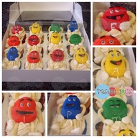 "M&m's Cupcakes Cupcakes with m&m's characters made ofgumpaste. The original message was ""feliz cumple Alex"" instead of the m in every..."