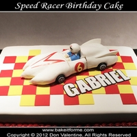 Speed Racer Fondant Cake The car was made out of rice krispy treat covered with fondant. For those that are wondering why this car has a 6 on it instead of a 5, the...