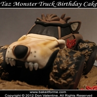 Taz Monster Truck Fondant Birthday Cake Taz Monster Truck Cake - Happy Birthday Ethan! The monster tuck, and mound are rice krispy treat covered in fondant sitting atop a half &...