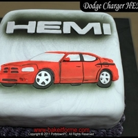 "Dodge Charger Hemi Fondant Cake This was a small 12"" x 12"" cake that we made for a proud owner of a 2010 Dodge Charger. He loves his HEMI so much, he has custom..."