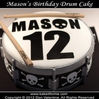 Snare Drum Fondant Birthday Cake Happy Birthday Mason! This half & half cake sported skulls around the cake and edible drumsticks
