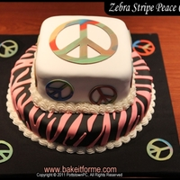 Pink Zebra Stripes & Peace Signs Fondant Cake This was my daughter?s birthday cake. She asked for pink zebra stripes and peace signs.