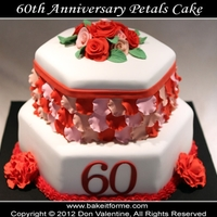 "60Th Anniversary Rose Petal Fondant Cake This 60th Anniversary ""PETALS"" cake was for a couple who I never met, but 60 years! C'mon! That's something to..."
