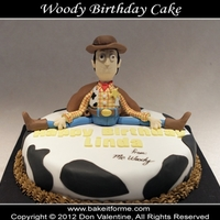"Toy Story ""woody"" Fondant Birthday Cake Woody is made out of rice krispy treat covered with fondant."